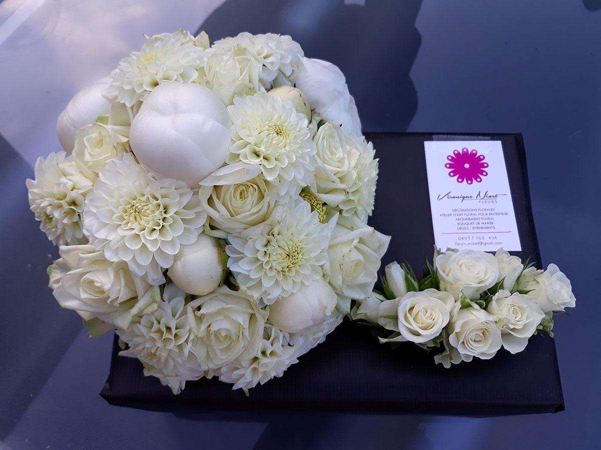 Bouquet de mariée roses pivoines dahlias